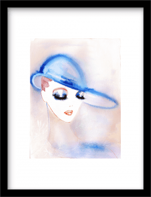 Lady with Blue Hat wandkleed Urban Cotton, design  -  Fine Art Paper