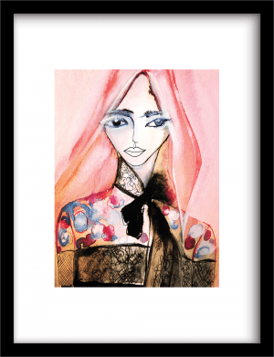Pink Lady wandkleed Urban Cotton, design  -  Fine Art Paper