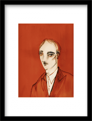 Portrait studies in red: The Gentleman wandkleed Urban Cotton, design  -  Fine Art Paper