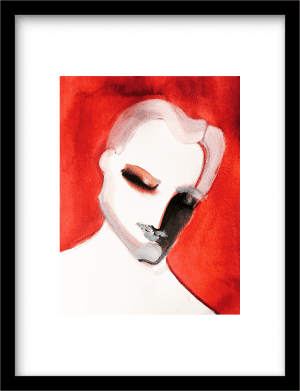 Portrait studies in red: The Lover wandkleed Urban Cotton, design  -  Fine Art Paper
