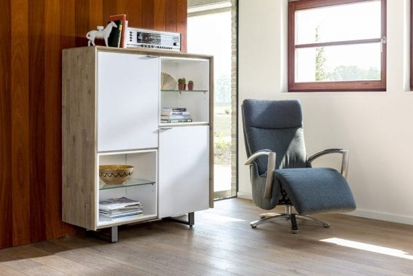 Verano bergkast, Monza relaxfauteuil, Xooon meubels. Modern en betaalbaar design!