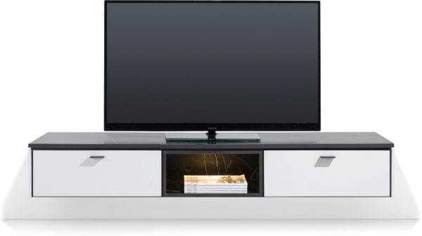 Bogota tv-kast 170 cm - 1-lade + 1-klep + 2-niches (+ LED) ombouw melamine wit