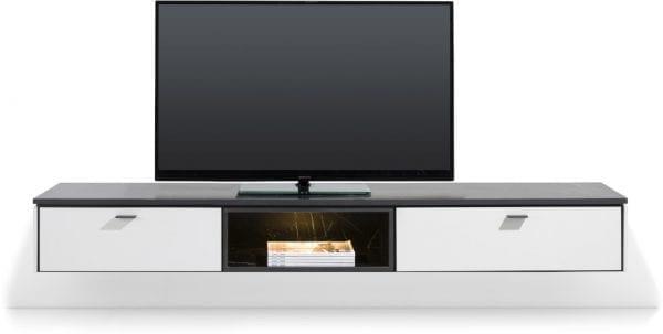 Bogota tv-kast 200 cm - 1-lade + 1-klep + 1-niche (+ LED) ombouw melamine wit
