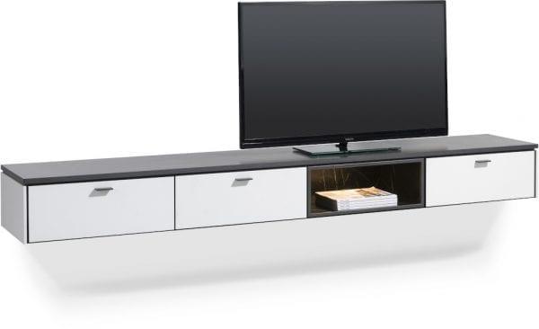 Bogota tv-kast 240 cm - 2-laden + 1-klep + 1-niche (+ LED) ombouw melamine wit