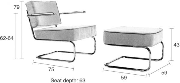 Hocker Ridge Rib Yellow 24A modern design uit de Zuiver meubel collectie - 3300006