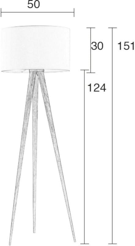 Vloerlamp Tripod Wood White modern design uit de Zuiver meubel collectie - 5000806