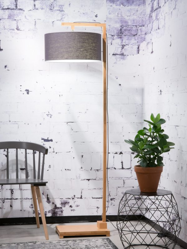 Vloerlamp Himalaya bamboe 4723, linnen donkergrijs - it's about RoMi