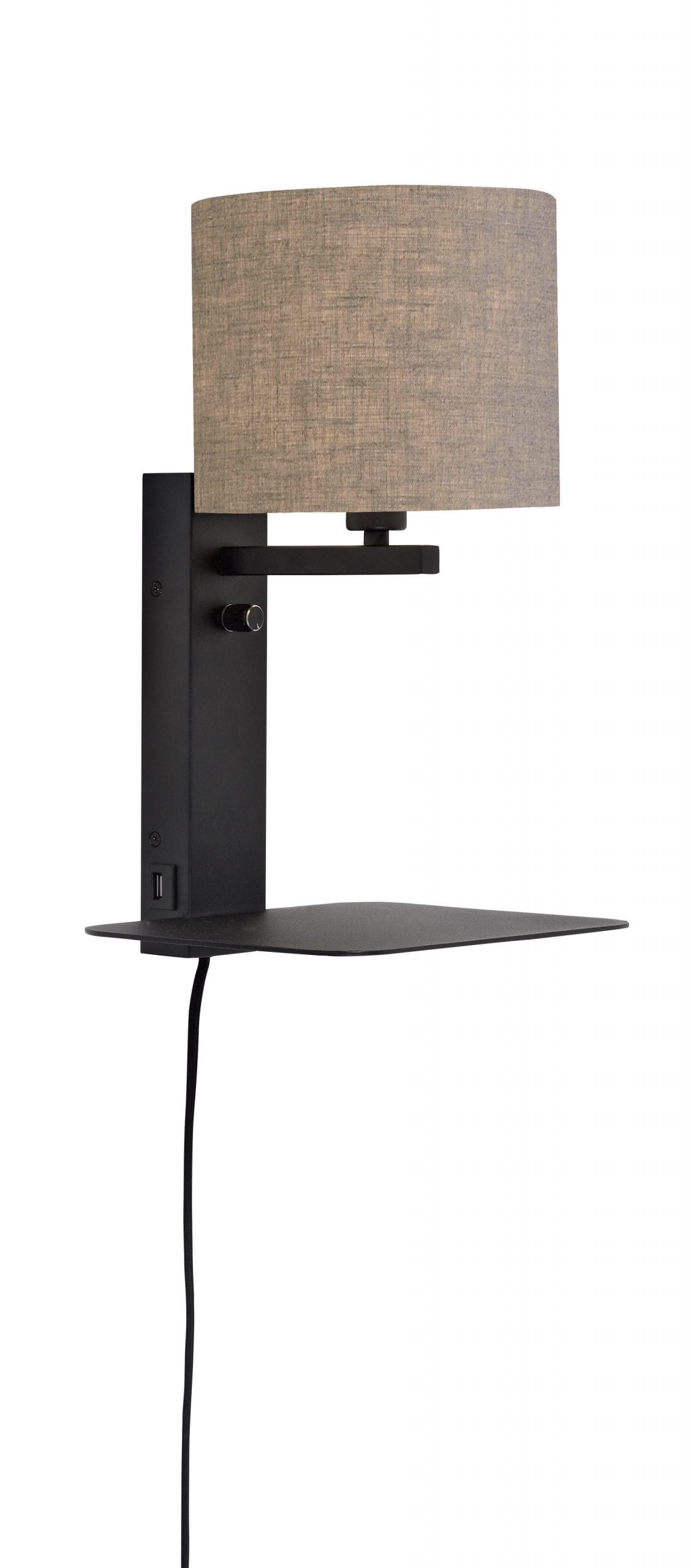 Wandlamp Florence - Black/Linen dark - 47cm