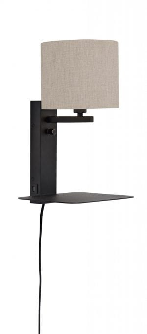 Wandlamp Florence plank+usb+leeslamp/kap 1815 l.linnen - it's about RoMi