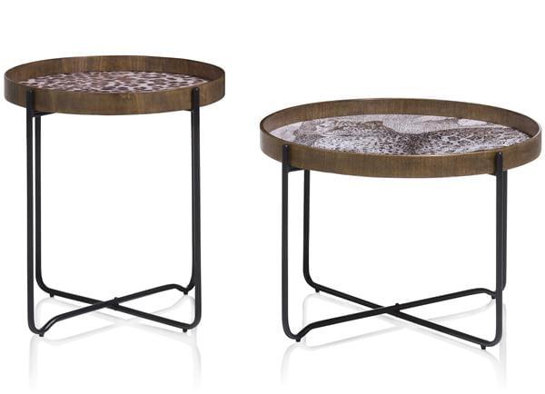 set van 2 bijzettafels Leopard - bruin Coco Maison SMALLFURN Lowik Wonen & Slapen