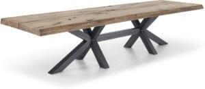 Eetkamertafel Dutchz 1402 is een robuuste tafel met een schitterend eiken blad met een rustieke uitstraling. Vervaardigd uit massief eiken en verkrijgbaar in vele kleuren. Keuze uit vele afmetingen en ook maatwerk behoort tot de mogelijkheid. Afgebeeld in afmetin 350x100 cm met een boomstamblad in 8 cm massief grof rustiek oud eikenhout (opgedikt 4+4 cm) in de kleur blank antiek met dubbele spinpoot met balk in de kleur industrieel. Verkrijgbaar in de lengtes 270cm, 300cm en 350cm.