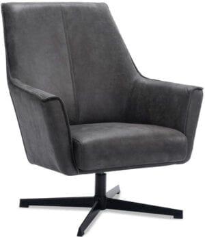 Draaifauteuil Campana microleder graphite uit de fauteuils Pronto Wonen Lowik Meubelen Uitgevoerd in microleder bull 66-graphite met zwart metalen 4-teens draaipoot.