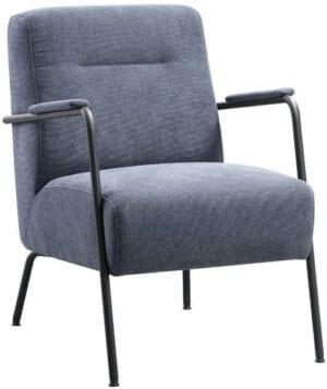 Fauteuil Milezzo koudschuim zitting donkerblauw uit de fauteuils Pronto Wonen Lowik Meubelen Uitgevoerd in stof bloq 48-dark blue met HR-schuim in de zitting (medium) en een zwart metalen frame, type MR1.