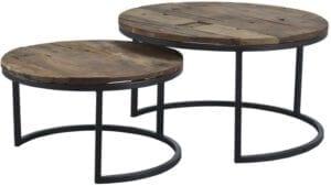 Salontafel Vicentino zwart metaal (set) uit de salon/hoektafels Pronto Wonen Lowik Meubelen Uitgevoerd in naturel hardhout met zwart metalen frame.