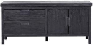 TV-meubel Stretto Black uit de woonprogramma Pronto Wonen Lowik Meubelen Uitgevoerd in mindi hout in de kleur zwart met 2 deuren, 1 klep en 1 lade.