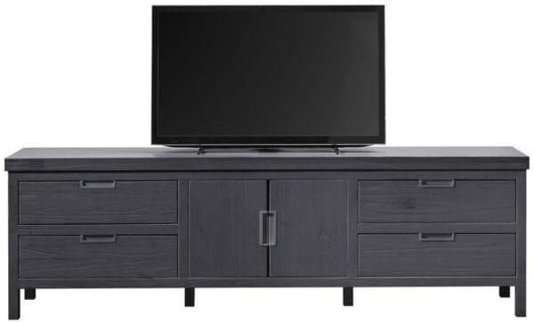 TV-meubel Stretto Black uit de woonprogramma Pronto Wonen Lowik Meubelen Uitgevoerd in mindi hout in de kleur zwart, met 2 deuren, 2 kleppen en 2 laden.