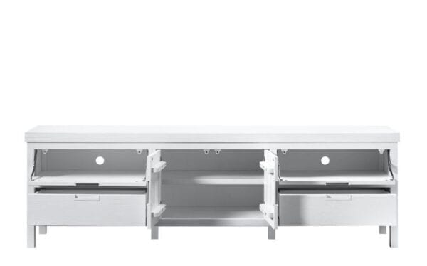 TV-meubel Stretto White uit de woonprogramma Pronto Wonen Lowik Meubelen Uitgevoerd in mindi hout in de kleur wit, met 2 deuren, 2 kleppen en 2 laden.