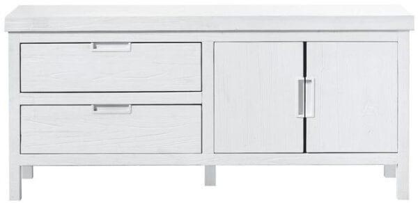 TV-meubel Stretto White uit de woonprogramma Pronto Wonen Lowik Meubelen Uitgevoerd in mindi hout in de kleur wit, met 2 deuren, 1 klep en 1 lade.