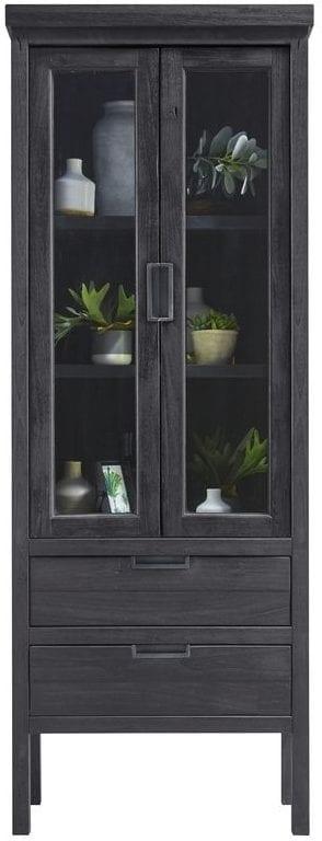 Vitrinekast Stretto Black uit de woonprogramma Pronto Wonen Lowik Meubelen Uitgevoerd in mindi hout in de kleur zwart, met 2 glasdeuren en 2 laden.