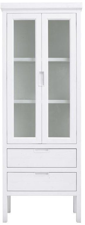 vitrinekast Stretto White uit de woonprogramma Pronto Wonen Lowik Meubelen Uitgevoerd in mindi hout in de kleur wit, met 2 deuren en 2 laden.