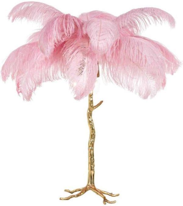 Tafellamp Upanova roze (Roze) - Richmond Interiors - Tafellamp Upanova is een toffe, gouden palmboom met roze veren en geeft ook nog eens licht!
