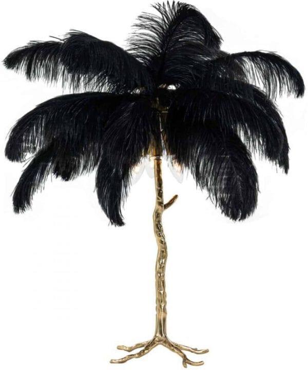 Tafellamp Upanova zwart (Zwart) - Richmond Interiors - Tafellamp Upanova is een toffe, gouden palmboom met zwarte veren en geeft ook nog eens licht!