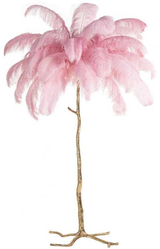 Vloerlamp Burlesque roze (Roze) - Richmond Interiors - Vloerlamp Burlesque is een toffe, gouden palmboom met roze veren en geeft ook nog eens licht!