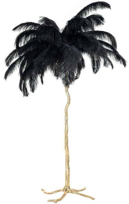 Vloerlamp Burlesque zwart (Zwart) - Richmond Interiors - Vloerlamp Burlesque is een toffe, gouden palmboom met zwarte veren en geeft ook nog eens licht!