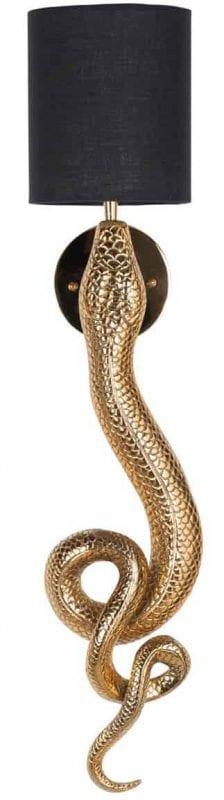 Wandlamp Daine incl. lampenkap zwart (Goud) - Richmond Interiors - Wandlamp Daine incl. lampenkap zwart is uniek design in de vorm van een slang. Een gouden slang voor aan de muur, een statement voor elke kamer! - Löwik Wonen & Slapen Vriezenveen