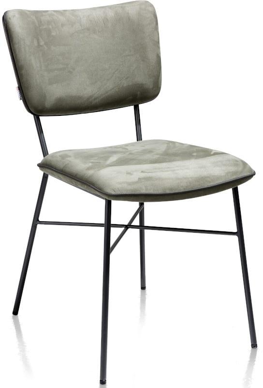 Bjorg eetkamerstoel - multiplex rug antraciet - stof Savannah Groen XOOON Lowik Wonen & Slapen