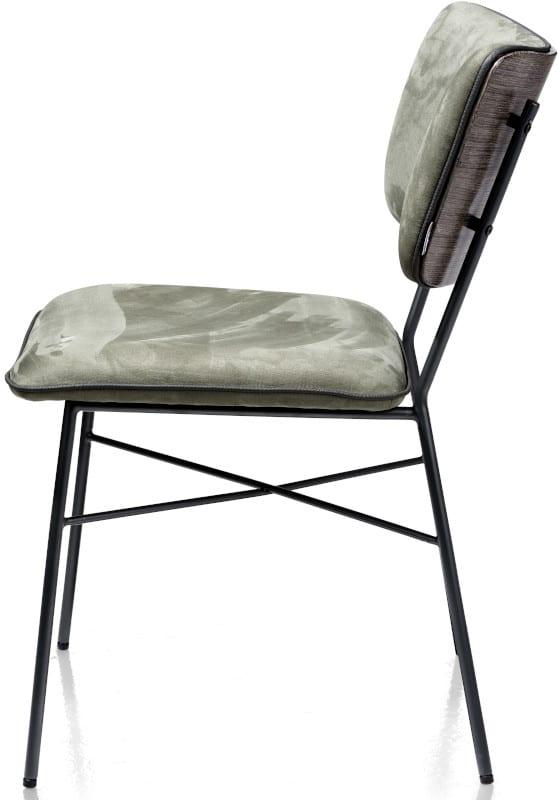 Bjorg eetkamerstoel - multiplex rug antraciet - stof Savannah Okergeel XOOON Lowik Wonen & Slapen