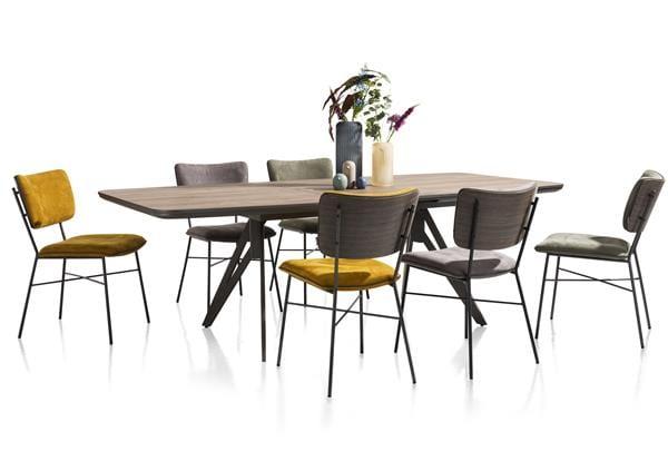 Bjorg eetkamerstoel - multiplex rug antraciet - stof Savannah Okergeel  XOOON Lowik Wonen & Slapen,
