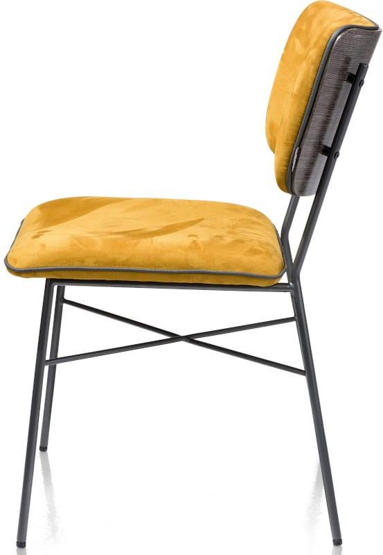 Bjorg eetkamerstoel - multiplex rug antraciet - stof Savannah Steel Grey XOOON Lowik Wonen & Slapen