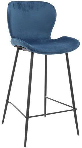 Barstoel velvet ronde buis VPE4 / Blauw velours. 3739/51V uit de barstoelen collectie van Zijlstrakleinmeubelen & verlichting bij Löwik Meubelen