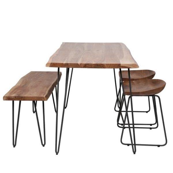 Eetkamertafel edge 130 / Massief acacia naturel. Eetkamertafel uit de eetkamertafels collectie van Bullcraft kleinmeubelen & verlichting bij Löwik Meubelen