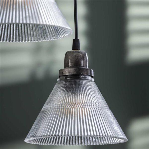 Hanglamp 5L getrapt helder glas ribbel / Oud zilver. Hanglamp uit de hanglampen collectie van Bullcraft kleinmeubelen & verlichting bij Löwik Meubelen