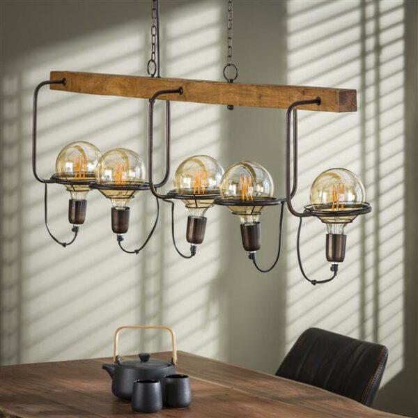 Hanglamp 5L saturn wood / Massief mango naturel. Hanglamp uit de hanglampen collectie van Bullcraft kleinmeubelen & verlichting bij Löwik Meubelen