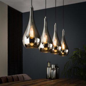 Hanglamp 4L silver drop glass / Chromed glas. Hanglamp uit de hanglampen collectie van Bullcraft kleinmeubelen & verlichting bij Löwik Meubelen