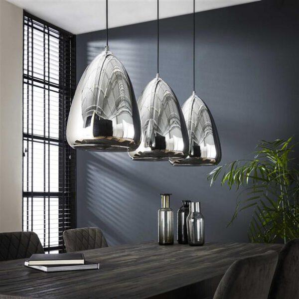 Hanglamp 3L silver pearl glass / Chromed glas. Hanglamp uit de hanglampen collectie van Bullcraft kleinmeubelen & verlichting bij Löwik Meubelen