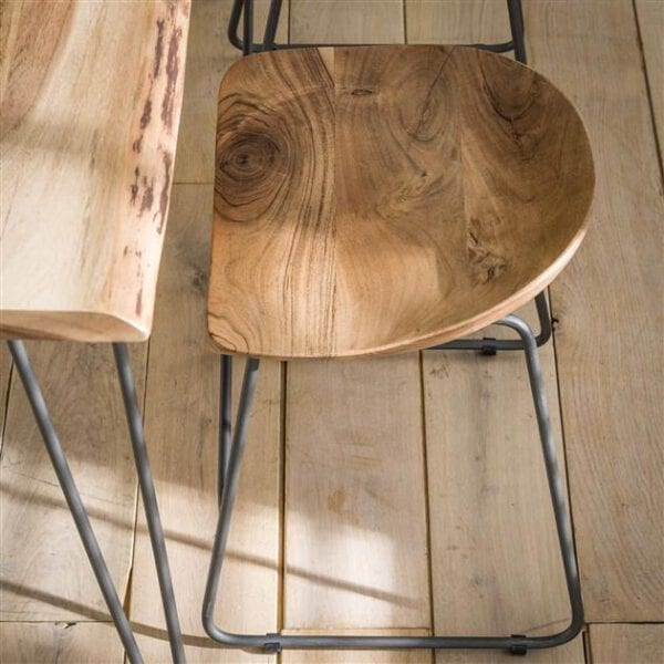 Kruk hout ergo VPE2 / Massief acacia naturel. Kruk uit de eetkamerstoelen collectie van Bullcraft kleinmeubelen & verlichting bij Löwik Meubelen