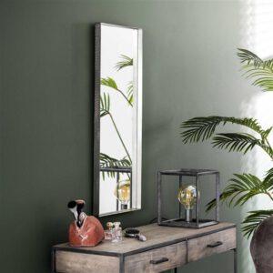 Spiegel 40x100 opstaande rand / Antiek Nikkel. Spiegel uit de spiegels collectie van Bullcraft kleinmeubelen & verlichting bij Löwik Meubelen