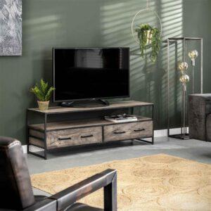 TV-meubel Turf / Massief acasia grijs antiek. TV-meubel uit de  collectie van Bullcraft kleinmeubelen & verlichting bij Löwik Meubelen