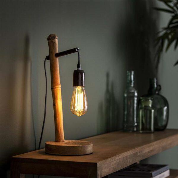 Tafellamp 1L bamboo cycloon / Grijs. Tafellamp uit de tafellampen collectie van Bullcraft kleinmeubelen & verlichting bij Löwik Meubelen