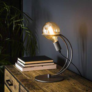 Tafellamp 1L curve ring Ø125 mm lichtbron / Oud zilver. Tafellamp uit de tafellampen collectie van Bullcraft kleinmeubelen & verlichting bij Löwik Meubelen