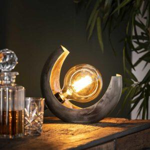 Tafellamp half moon / Oud zilver. Tafellamp uit de tafellampen collectie van Bullcraft kleinmeubelen & verlichting bij Löwik Meubelen