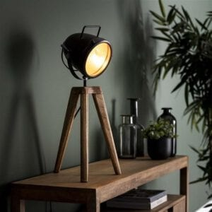 Tafellamp 1L spot-on / Massief mango naturel. Tafellamp uit de tafellampen collectie van Bullcraft kleinmeubelen & verlichting bij Löwik Meubelen