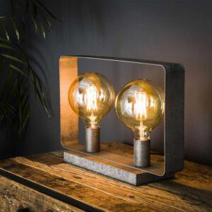 Tafellamp 2L strip / Oud zilver. Tafellamp uit de tafellampen collectie van Bullcraft kleinmeubelen & verlichting bij Löwik Meubelen