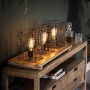 Tafellamp 3L tray wood / Massief mango naturel. Tafellamp uit de tafellampen collectie van Bullcraft kleinmeubelen & verlichting bij Löwik Meubelen