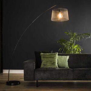 Vloerlamp 1x Ø45 boog gauze / Charcoal. Vloerlamp uit de booglampen collectie van Bullcraft kleinmeubelen & verlichting bij Löwik Meubelen