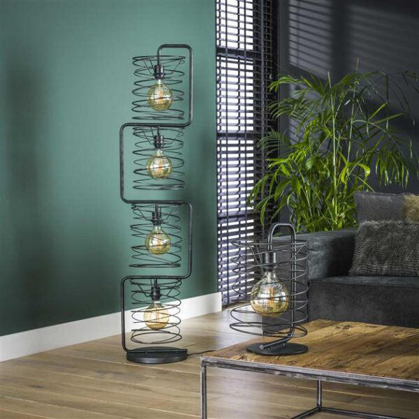 Vloerlamp 4x Ø25 Curl cylinder / Charcoal. Vloerlamp uit de vloerlampen collectie van Bullcraft kleinmeubelen & verlichting bij Löwik Meubelen